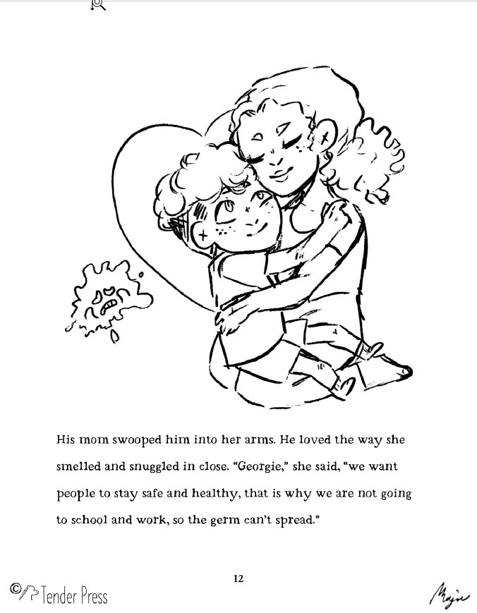 Illustration outline of Georgie being held by his mother lovingly, encapsulated in a heart