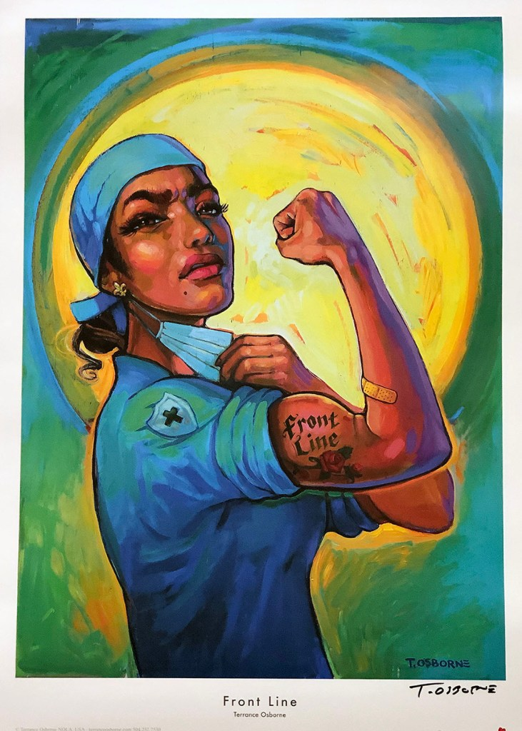 """Drawing of an African-American nurse wearing blue scrubs and holding up her left arm to reveal her bicep that has a tattoo with the words """"front line"""""""