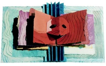 """Inside spread showing a mask, part of artist book, """"Sanctums, Sactum, Sancta"""""""