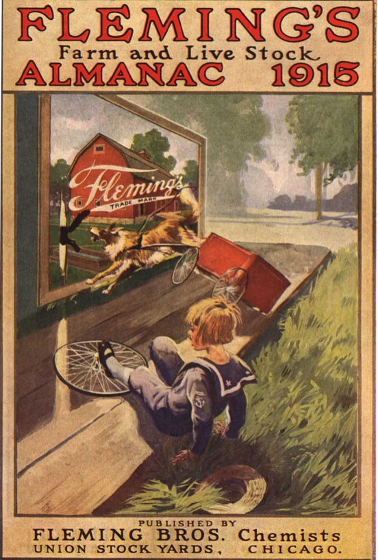 An illustraion of a girl and a dog harnessed to a cart having an accident in front of a billboard advertising Flemings.