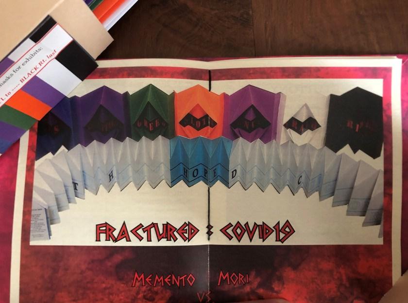 """Image of artist book, """"Fractured:Covid 19 – Memento Mori vs. Memento Vivere"""""""