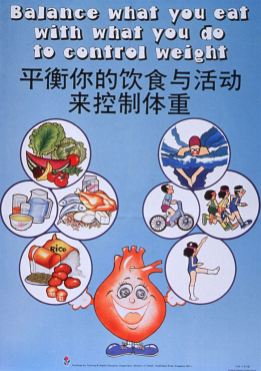 A smiling heart offers images of good food and exercises, text in English and Chinese..