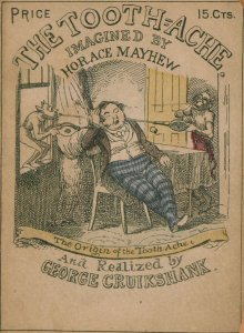 Cover of an illustrated pamphlet shows a man suffering from imps attacking his mouth.
