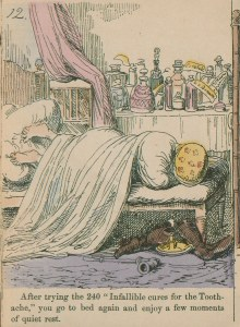 Illustration of a figure in bed with his feet on the pillows and head wrapped in a kerchief, many bottles sit by the bedside..