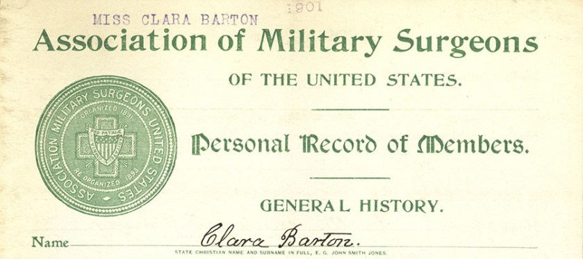 A printed form with AMS seal of bigraphical history of Clara Barton.
