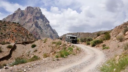 Driving in the Fann Mountains
