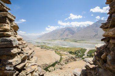 View on the Wakhan Valley through a ruined fortress.