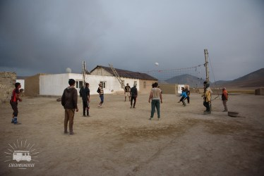 In the evening the young men of the village play some volleybal.