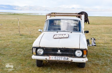 The horse is sometimes replaced by the Lada. Here used as a place to dry the Kurut: salty balls made of yoghurt.