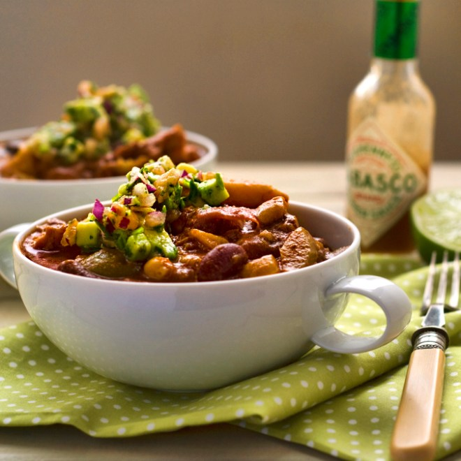 winter squash and bean chilli with guacamole