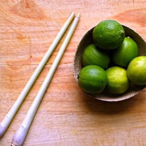 lemongrass stalks and fresh limes