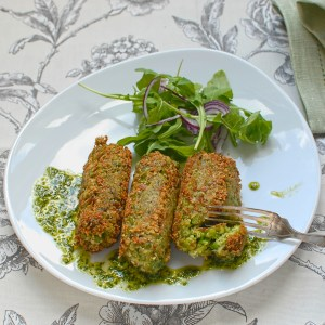 pea and broad bean croquettes with Thai basil sauce