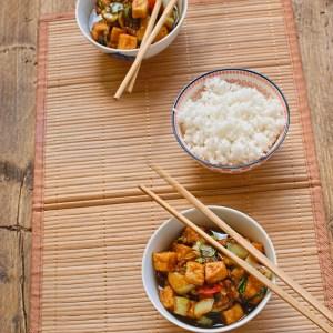 Vietnamese style tofu with pak choi