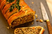 vegetarian Christmas dinner recipe for kale, quinoa and nut roast in crispy puff pastry