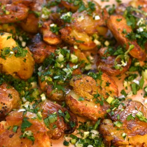 crushed new potatoes and herbs