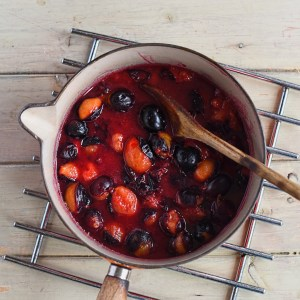 damsons poached in cider vinegar