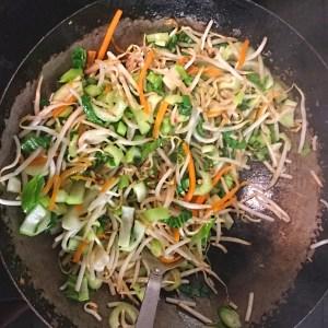 vegan chow mein in wok