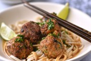 vegan Thai noodles with spicy vegetable balls