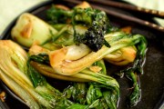 wok fried pak choi and purple sprouting broccoli with soy and garlic: vegan and gluten free