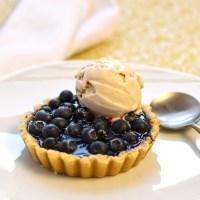 blueberry tart with lemon verbena ice cream