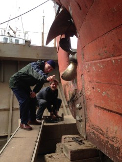 Patrick Malahide in dry dock with QG's Mate Huw