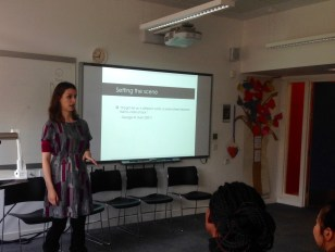 """Laura Hankin presenting """"PREVENTing Critical Thinking: A study into the impact of the statutory Prevent duty 2015 on the development of critical thinking in young people in schools in England"""""""