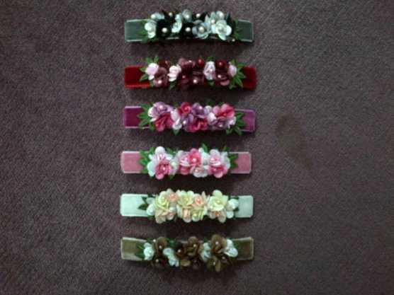 Jepit rambut otomatis, rajutan bunga warna-warni - ukuran 8 cm