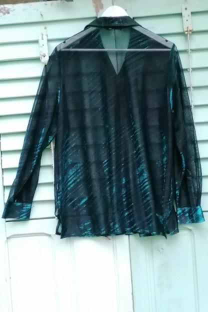 Glitter Metallic mash striped blouse, 3.01 green and black, back