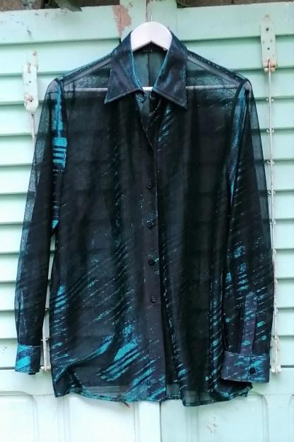 Glitter Metallic mash striped blouse, 3.01 green and black