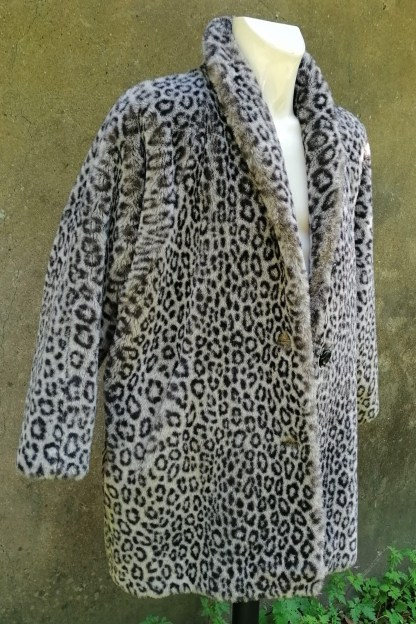 Grey Snow-Leopard Faux Fur Coat, U.FAUX2.01, front right side