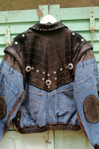 Leather and Denim Western Coat zip-off sleeves, 4.01 back 2