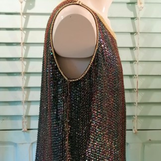 Silk Oil colored sequin top, sleeveless 2.21, side 1