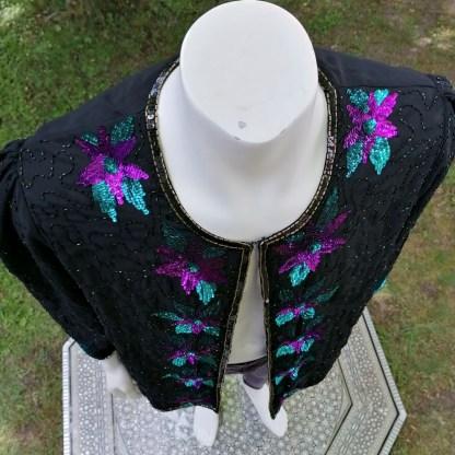 black top sequin flower