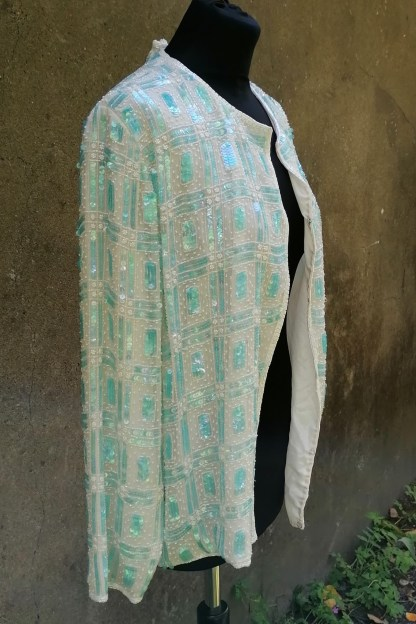 Silk white and aqua sequin and beaded cardigan, U.SEQ2.02, side right
