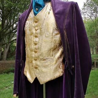 Tailored Velvet Jacket Purple and Jacquard Golden Vest, suite-front 2