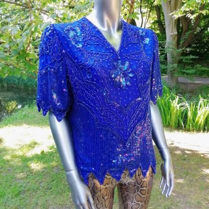 blue glitter top silk