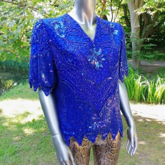blue glitter top silk