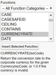 Salesforce CURRENCYRATE formula