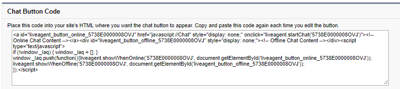 Live Agent in Salesforce: Chat Button HTML