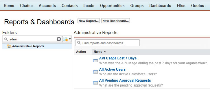 API Usage Report in Salesforce