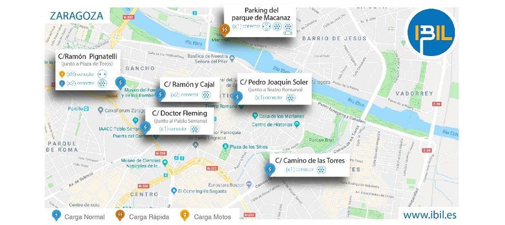 IBIL instalará y gestionará 16 nuevos puntos de recarga públicos en el centro de Zaragoza