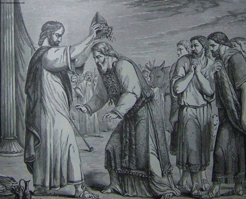 Consecration of Aaron and His Sons (illustration from the 1890 Holman Bible)