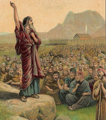 Moses Pleading with Israel (illustration from a Bible card published 1907 by the Providence Lithograph Company)