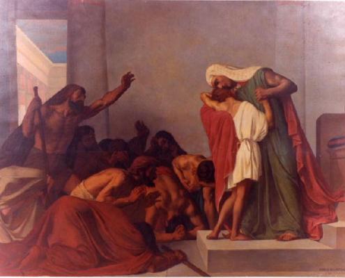 Vayigash. Joseph herkend door zijn broers, door Léon Pierre Urbain Bourgeois, 1863. Public Domain