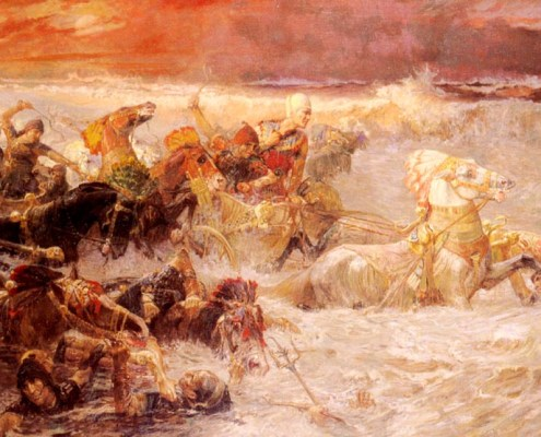Pharaoh's Army Engulfed by the Red Sea (1900 painting by Frederick Arthur Bridgman). Public Domain