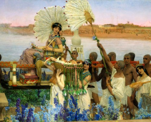 The Finding of Moses by Alma-Tadema, 1904. Public Domain