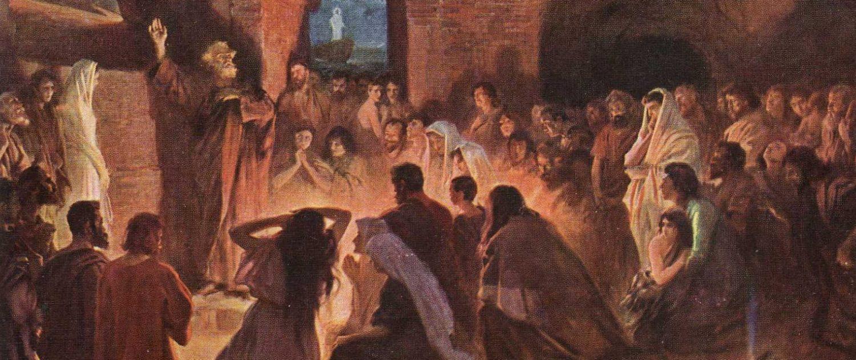 Апостол Павел проповедует в катакомбах