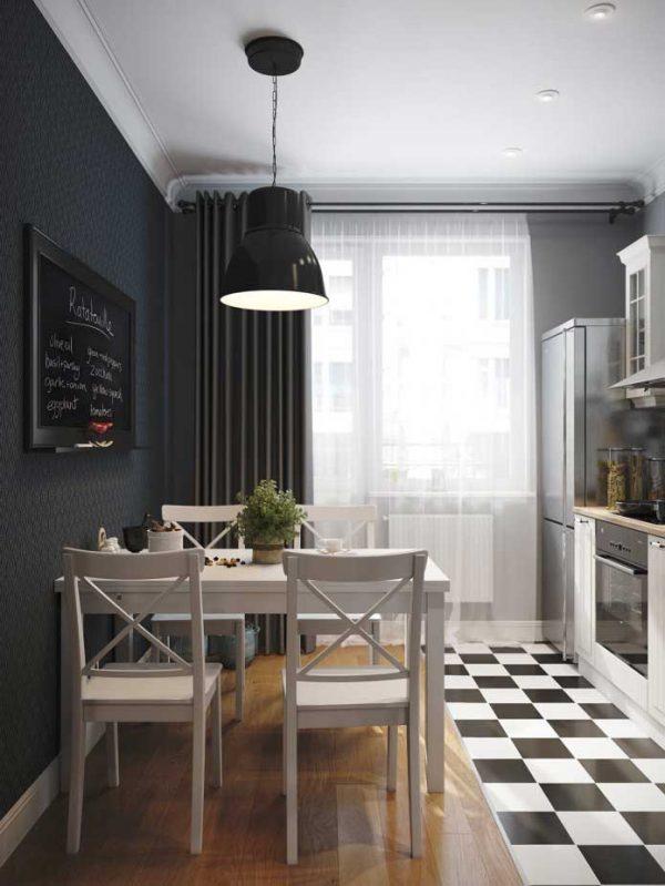 маленькая кухня дизайн фото 8 кв м с холодильником 5