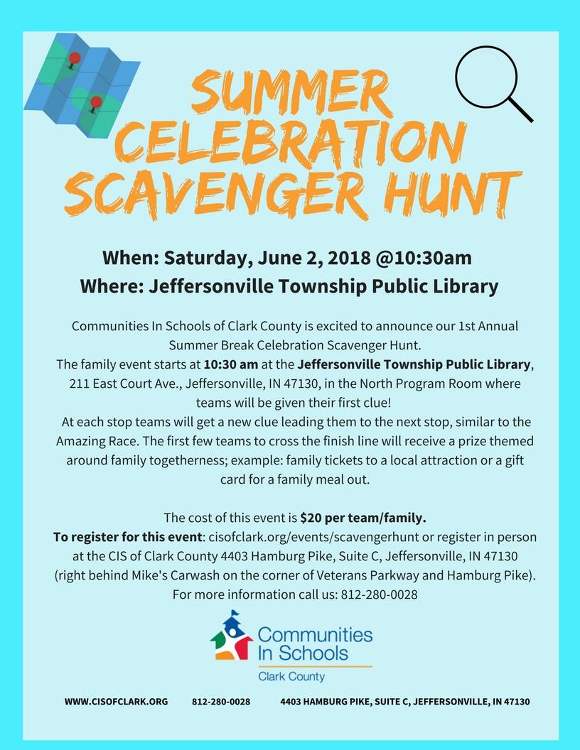 Summer Celebration Scavenger Hunt Flyer