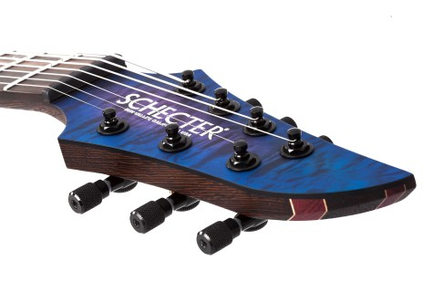 KM-7 M III PRO BLUE CRIMSON PEARL HEADSTOCK CLOSE HIGHRES
